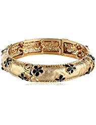 "1928 Jewelry ""Le Marais"" Gold-Tone Black Enamel Flower with Crystal Accent Stretch Bracelet"
