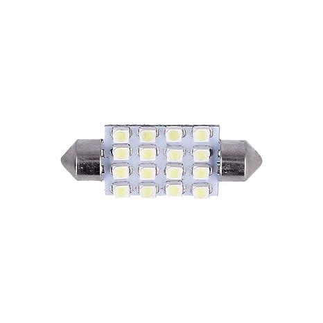TOOGOO(R) 10X Blanco Car Interior Dome C5W SMD 16 LED Festoon Bombilla Luz 39mm 12v Nuevo