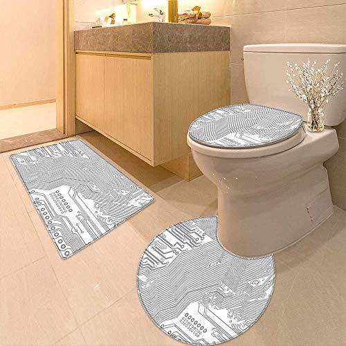 Printsonne Non Slip Bath Shower Rug Motherboard Electronic Hardware Technical Display Futuristic Plan Design Grey White Custom Made Rug Set by Printsonne