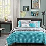 Kaputar Beautiful Modern Teal Blue Aqua Grey Chevron Stripe Boys Comforter Set Pillows   Model CMFRTRSTS - 933   Twin Twin XL Quilt Set