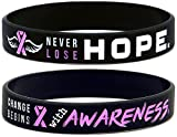 Inkstone (6-pack) Breast Cancer Awareness Pink Ribbon Bracelets - Pack of 6 Silicone Wristbands