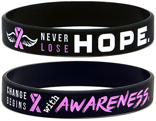 (Inkstone (6-pack) Breast Cancer Awareness Pink Ribbon Bracelets - Pack of 6 Silicone Wristbands)