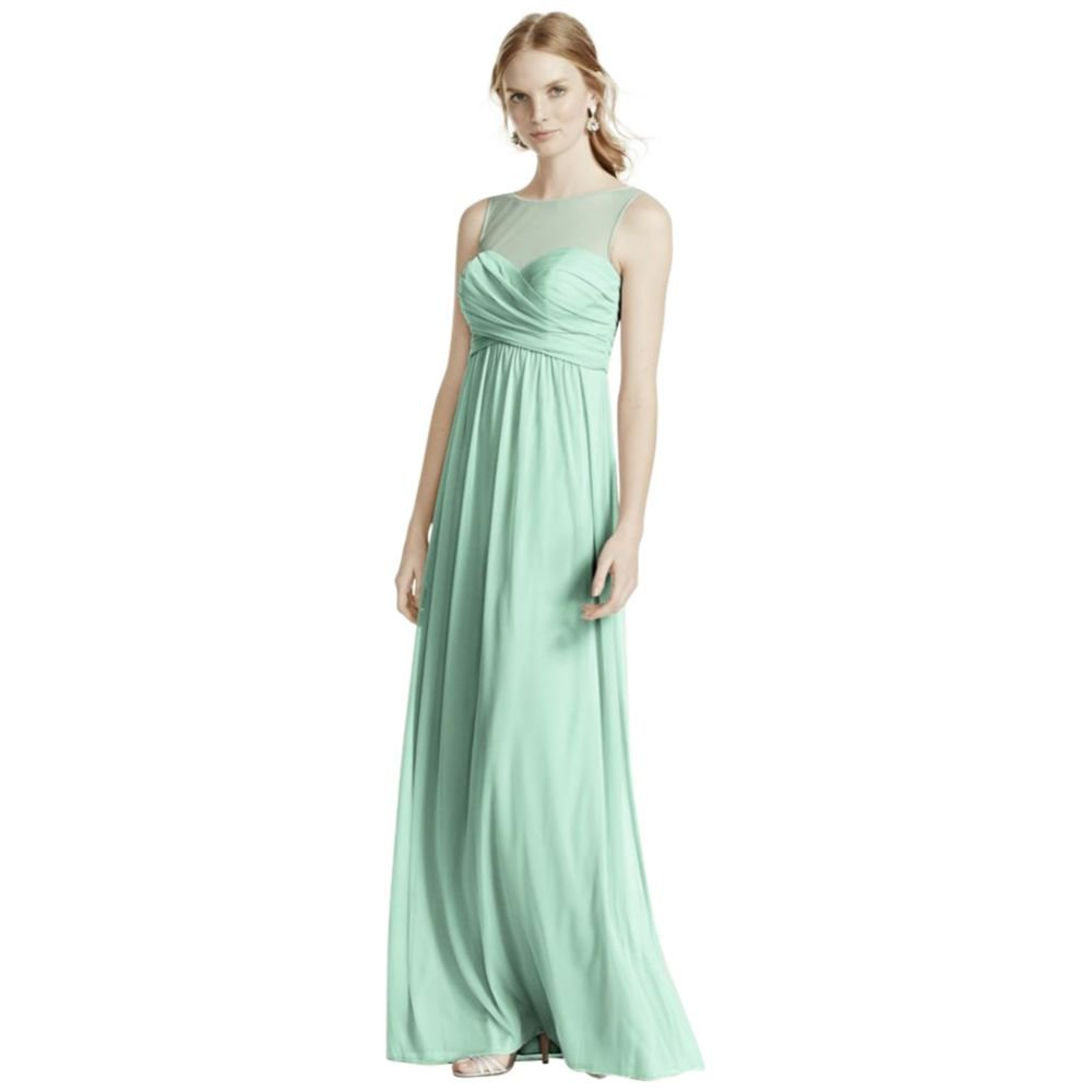 David's Bridal Long Mesh Bridesmaid Dress with Illusion Neckline Style F15927, Mint, 4 by David's Bridal