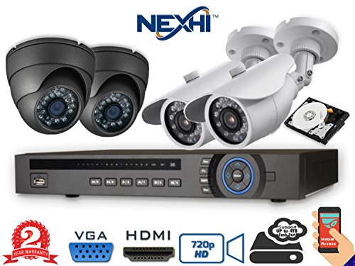 Nexhi® NXH-7204-DV3B1Q-4DS5G 4CH 720P HD-CVI Complete DVR Surveillance System - HD-720P 3.6MM Lens CCTV 2x Dome + 2x Bullet Cameras, Adapters, Cables & 500GB HDD - 2 Year ()