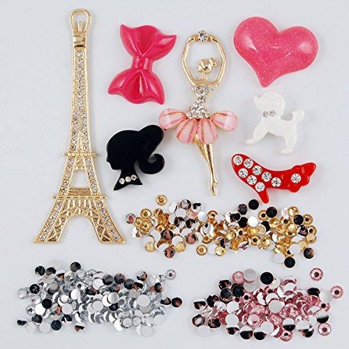Frog-tech® Pink Dancing Girl Golden Eiffel Tower Shining Flat Back Deco Kit
