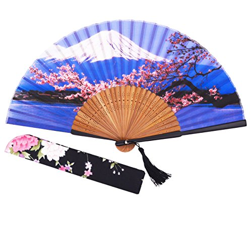 [Amajiji Japanese Traditional Retro Craft Handhelp Folding Fan,Portable Women Bamboo Hand Fan,8.66