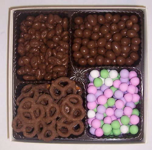 Scott's Cakes Large 4-Pack Chocolate Pretzels, Chocolate Rasins, Chocolate Peanuts, & Chocolate Dutch Mints
