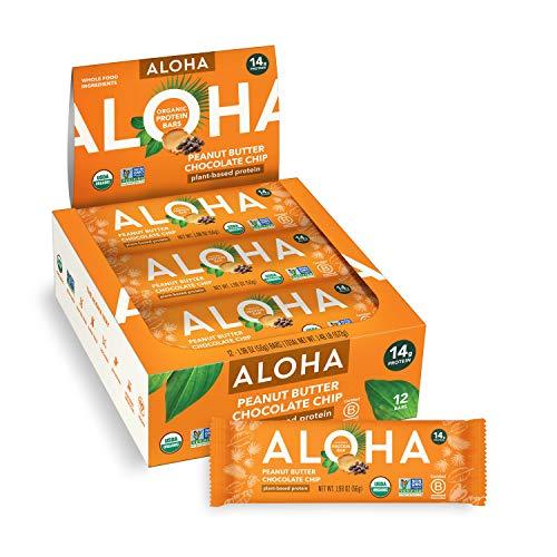 ALOHA Organic Plant Based Protein Bars |Peanut Butter Chocolate Chip | 12 Count, 1.98oz Bars | Vegan, Low Sugar, Gluten…