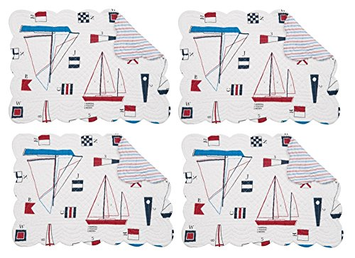 C&F Windward Port Sailboats Buoys Flags Nautical Set of 4 Cotton Linen Placemats 13x19