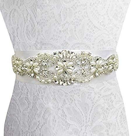 Shinybeauty RA181, Banda para boda de marfil, estilo cinturón y diseño