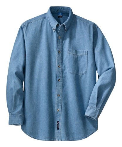 Port & Company Long Sleeve Value Denim Shirt, M, Faded Blue