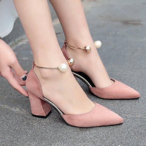 Xue Qiqi Sandalias de tacón grueso con comodines, con hebilla ranurada Baotou satinado solo zapatos de punta Mujeres Rosa