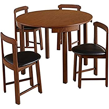 Mid Century Tobey Walnut Compact Dining Set (5 Piece) In Black Faux Leather  Upholstered Seats. Angled Chairs Fit Seamlessly To Edge Of Table.