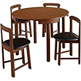 Mid-Century Tobey Walnut Compact Dining Set (5 Piece) in Black Faux Leather Upholstered Seats. Angled Chairs Fit Seamlessly to Edge of Table. Assembly Required