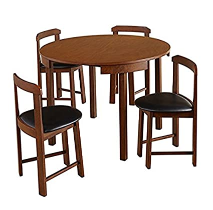 Gentil Mid Century Tobey Walnut Compact Dining Set (5 Piece) In Black Faux Leather