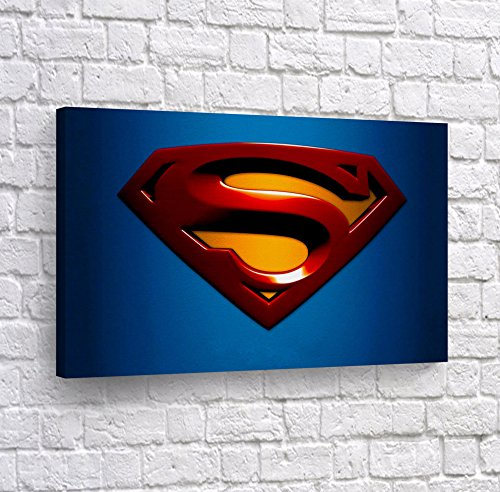 (Superman Logo Artwork Canvas Print Wall Art Paint Super Hero Home Decor Decoration Stretched and Ready to Hang -%100 Hanmade in The USA - 8x12)