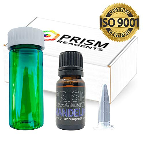 - MANDELIN Reagent KIT by Prism Reagents. Put Safety Into Your Hands with Your Own 10mL Reagent Bottle, 180+ Reaction Identification Color Chart, Nitrile Gloves, Testing Vial
