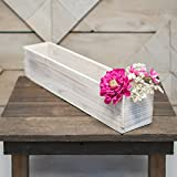 Planter Box, Rustic Barn Wood, Plastic Liner, Rectangle, 20 Inch, Woodland Wedding Decor, Country Chic Centerpiece, (White), (2 Pack)