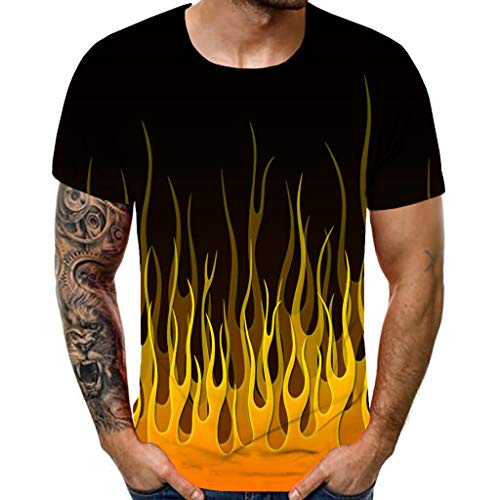 New Men's T-Shirt Summer 3D Flame Printed Short Sleeve Round Neck Slim Shirts Casual Beach Party Gym Fitness Sports…