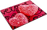 MSD Place Mat Non-Slip Natural Rubber Desk Pads design 35776610 Two cinnamon heart candies coated with sugar sitting on handwritten love background