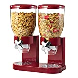 Honey-Can-Do Double Cereal Dispenser with Portion Control, Red and Chrome