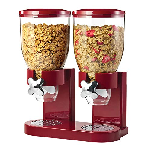 Portion Control Dispenser - Honey-Can-Do Double Cereal Dispenser with Portion Control, Red and Chrome