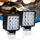 96 bronco center console - QUAKEWORLD 2PCS 4 inch 48W Square Spot Beam 4800LM LED Work Light Bar for 4x4 off road tractor jeep Cabin SUV ATV UTV 4WD Car Boat 10-30V Wateproof 6000K