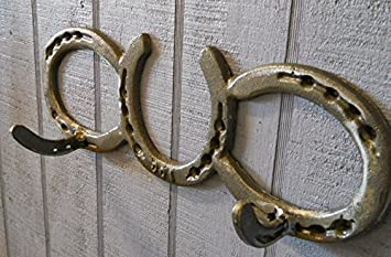 4cc75b83 Horseshoe Coat Rack 2 Hook Cast iron western decor tack hat wall country