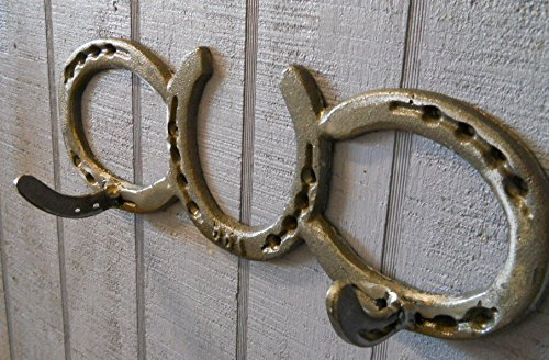 (Horseshoe Coat Rack 2 Hook Cast iron western decor tack hat wall country)