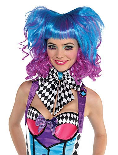 (Ladies Bright Crazy Blue Purple Pink Mad Hatter Alice World Book Day Carnival Halloween Fancy Dress Costume)