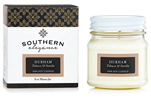Southern Elegance Durham: Tobacco and Vanilla Scented Soy Candle 8oz Mason Jar