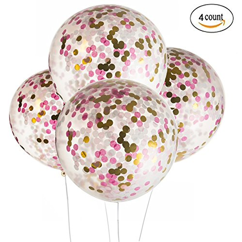 Clear Tassel (36 inch Jumbo Confetti Balloons Giant Clear Latex Helium Balloons Large Pink and Gold Fuchsia Tissue paper Confetti Balloons Wedding Engagement Favors New Years Eve Birthday Party Decorations)