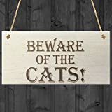 Red Ocean Beware Of The Cats Wooden Hanging Shabby Chic Plaque Gift by Red Ocean