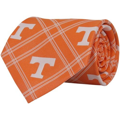 NCAA Tennessee Volunteers Orange Plaid Woven Tie