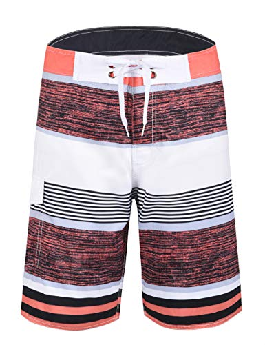 a39a982928 Nonwe Men's Quick Dry Swim Trunks Colorful Stripe Beach Shorts with Mesh  Lining