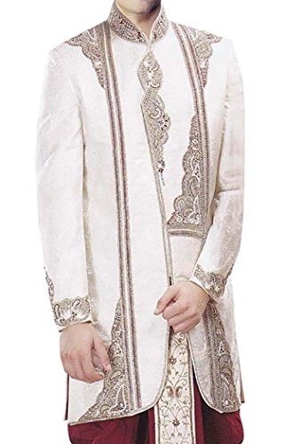 INMONARCH Mens Stylish Short Sherwani With Dhoti IN305 54XL Cream by INMONARCH