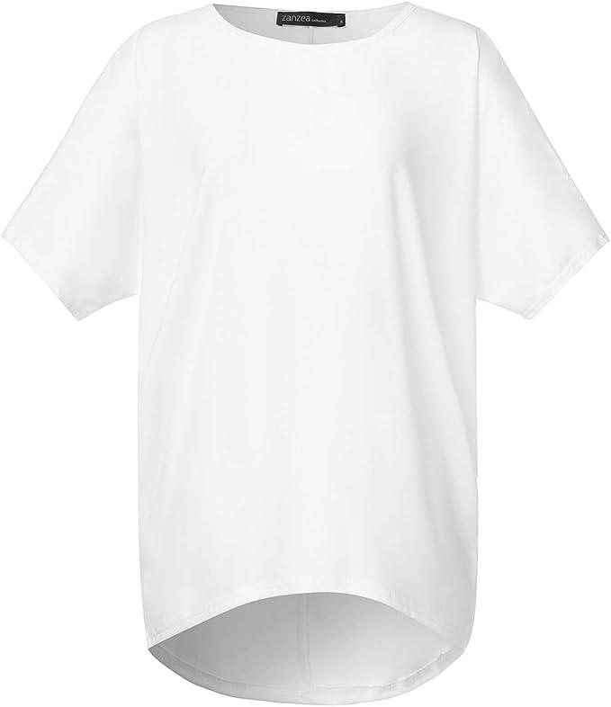 ZANZEA Maglietta Donna Manica Corta Estate Sciolto T Shirt Taglie Forti Casual Top Spiaggia