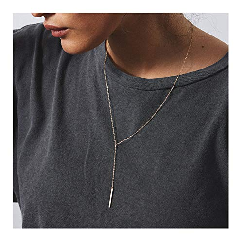 Forevereally Simple Drop Bar Necklace Long Y Pendant Necklace 14K Real Gold Plated Necklace Dainty Necklace for Women Birthday Gift