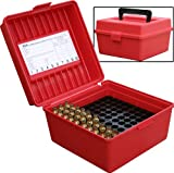 rifle ammo storage - MTM 100 Round Deluxe Handled Magnum Flip-Top Rifle Ammo Case (Red)