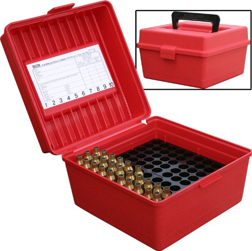 MTM 100 Round Deluxe Handled Magnum Flip-Top Rifle Ammo Case (Red) ()