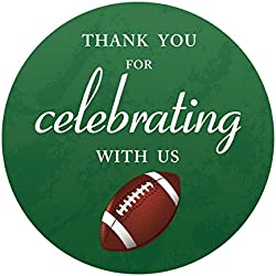 MAGJUCHE Football Thank You Baby Shower or Birthday Party Stickers, Superbowl Party Favor Sticker Labels, 2 Inch Round, 40-Pack