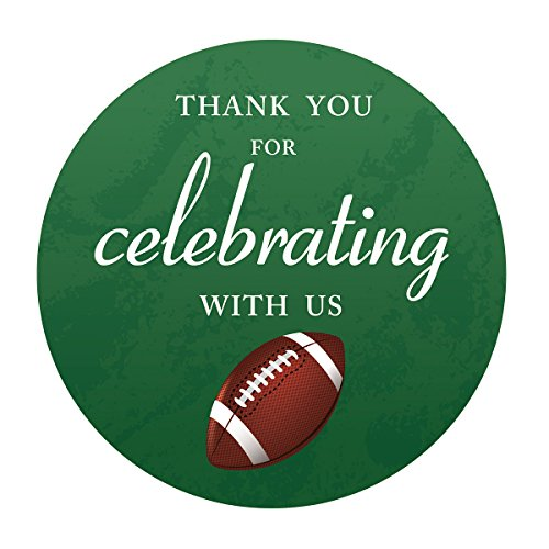 MAGJUCHE Football Thank You Baby Shower or Birthday Party Stickers, Superbowl Party Favor Sticker Labels, 2 Inch Round, 40-Pack]()