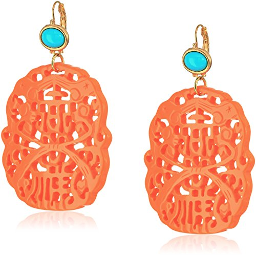 Kenneth Lane Coral Earrings - Kenneth Jay Lane Carved Coral and Turquoise Colored Resin Drop French Hook Earrings