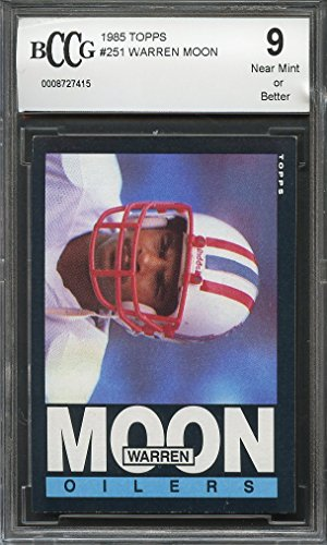 1985 topps #251 WARREN MOON houston oilers rookie card (CENTERED) BGS BCCG 9 Graded Card