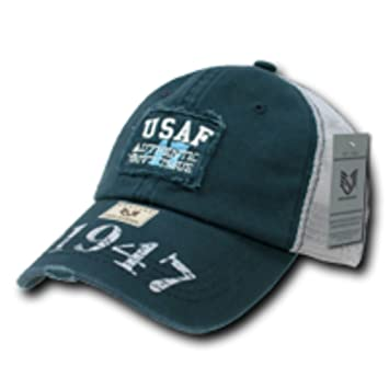 c698b727f19 Vintage Patch USAF(US Air Force) Mesh Cap 50% Washed Cotton 50% Nylon Baseball  Cap Hat