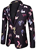 Men's Regular Fit Casual One Button Blazer Jacket Summer Fitted Sports Suit Coat Floral C Medium