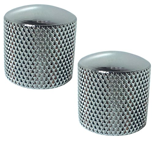 (Chrome Dome Knobs Pair - Polished Metal For Bass or Guitar Set of 2)