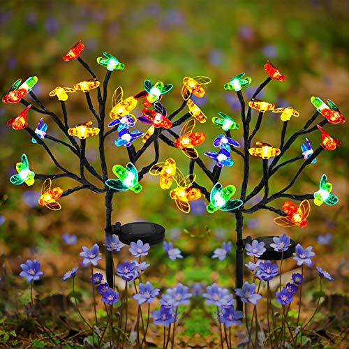 Solar LED Lights Outdoor Decor Waterproof Sunflower Solar Garden Lights, Powered Lawn Lighting, Beautiful Solar Colorful Bee Lamps for Flower Bed Yard Decorative