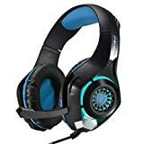 CEStore 3.5mm LED Light Stereo Over-Ear Gaming Bass Earphones Leather Earmuffs Headphone with Microphone, Volume Control, Noise Cancelling HiFi Headset for PC Laptop Tablet Mobile Phones PS4-Blue