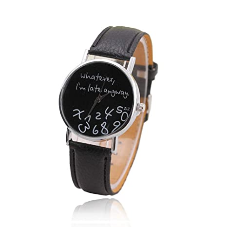 Sungpunet Unique Funny Watch Mujer Hombre Cuarzo Analógico qualunque Cosa, Sono in ritardo comunque Reloj